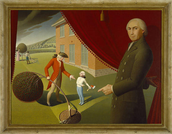 "Grant Wood; ""Parson Weems' Fable""; 1939; oil on canvas; Amon Carter Museum, Fort Worth, Texas; 1970.43"